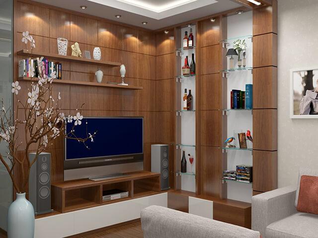 kệ trang trí phòng khách đẹp 2020